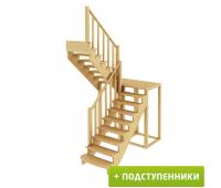Лестница К-004м/2 с подступенками, проём 1820х2260, высота 2925-3120