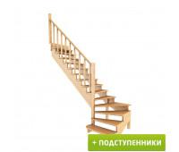 Лестница К-001м/7 с подступенками, проём 2920х920, высота 2730-2925