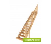Лестница К-020у с подступенками, проём 2730х970, высота 3120-3315
