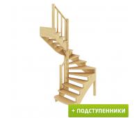 Лестница К-003м/2 с подступенками, проём 1820х1550, высота 2730-2925