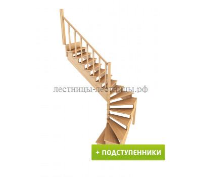 Лестница К-003м/5 с подступенками, проём 1820х2430, высота 2925-3120