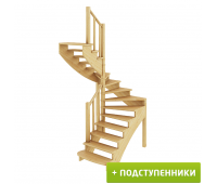Лестница К-003м/1 с подступенками, проём 1820х1550, высота 2925-3120